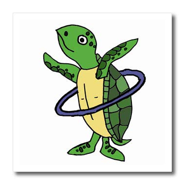 (3dRose All Smiles Art Animals - Funny Cool Sea Turtle Playing Hula Hoop Beach Cartoon - 10x10 Iron on Heat Transfer for White Material (ht_287949_3) )