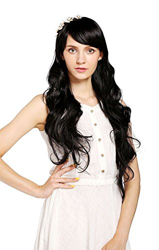 MelodySusie Black Long Curly Wig - Fascinating Women Long Curly Wig with Free Wig Cap (Black)