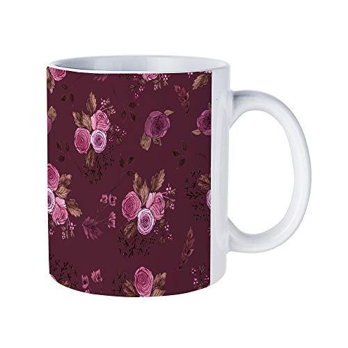 DKISEE Floral Patterns16 Coffee Mug Novelty 11oz White Ceramic Mug Birthday Christmas Anniversary Gag Gifts Idea