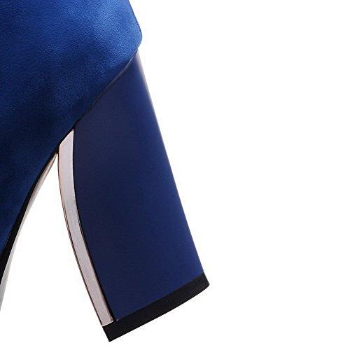 Allhqfashion Donna Tacco Basso Stivali Alti In Pelle Scamosciata Con Tacco Basso A Tacco Alto Blu