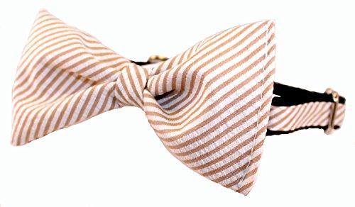 (Seersucker Bow Tie Dog Collar - Preppy Tan Striped Seersucker Bow Tie Dog Collar)