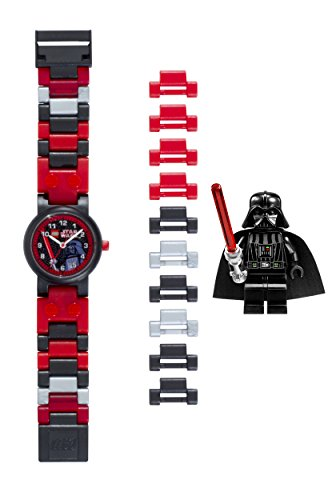 LEGO Star Wars 8020301 Darth Vader Kids Buildable Watch with Link Bracelet and Minifigure | black/red | plastic | 25mm case diameter| analog quartz | boy girl | official]()