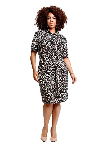TD New York Curvy Women's Plus Size BETTINA Shirtdress in Leopard Print (1X)