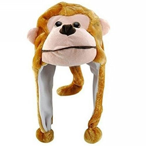 Animal Hat Plush Beanie Winter Ear Warm Fluffy Cap Earmuff (monkey) ()