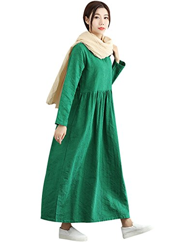 Col Rond Femmes Jacquard Hiver Youlee Vert Robe Longue Automne g1pBfRv