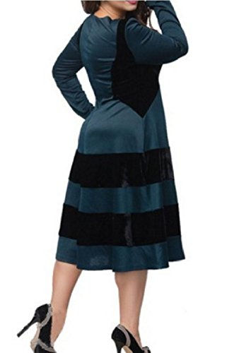 Size Coolred Skinny Plus Dress Blue Mid Length Color Velvet Collision Women A4w4qYxrE