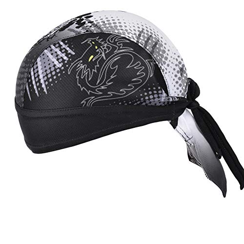 Cycling Headwrap Helmet Liner,Wicking Beanie Sunscreen Skull Cap Headscarf Pirate Bandana Hat Doo Rags with Sweat Band for Men's Outdoor Running Sports