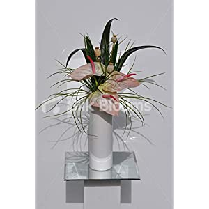 Silk Blooms Ltd Artificial Fresh Touch Green and Pink Anthurium Arrangement w/Grass and Lotus Pods 23
