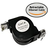 1.5M Flat CAT6 Retractable Ethernet Network Cable With Snagless RJ45 Connectors (1.5M Retractable, Black)