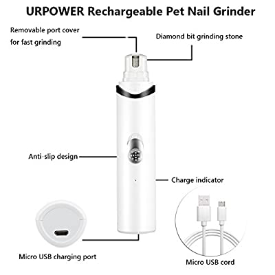 URPOWER Rechargeable Pet Nail Grinder Upgraded USB Charging Nail Trimmer Clipper Gentle Paws for Dogs Cats and Other Small & Medium Pets