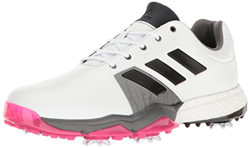 adidas Men's Adipower Boost 3 Golf Shoe, White/Black/Shock Pink, 12 M US