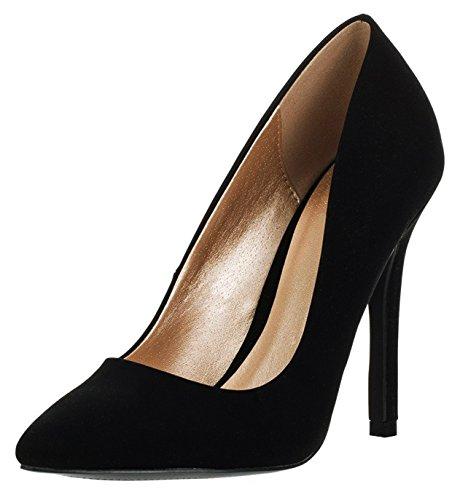 Cambridge Select Women's Classic Closed Pointed Toe Slip-On Stiletto High Heel Pump (10 B(M) US, Black NBPU) - Stiletto Classic Pump