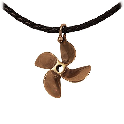 Fountain Boats Speed (KeyLimeBay 4 Blade Boat Propeller Pendant Crafted in Marine Grade Bronze on a 20