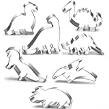 Dinosaur Cookie Cutter Set-7 Pcs-Brontosaurus,Camarasaurus,Stegosaurus,T-Rex,Triceratops,Pterodactyl and Baby Dinosaur,Stainless Steel Cookie Molds for Kids' Birthday Party and Dinosaur Party (1)