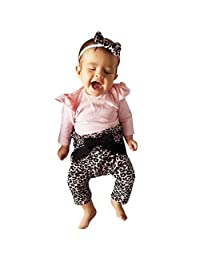 Baby Kids Girl Long T-Shirt Top + Leopard Pants Ruffled Outfit Clothes 3 Pcs Set