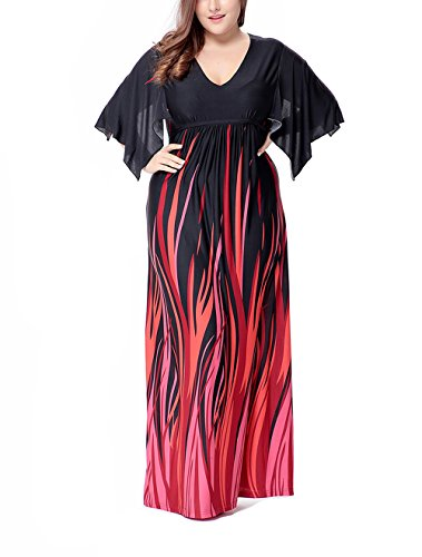 Hot Paronlinka Women's Floral Print Contrast Split Dolman Sleeve Party Evening Dress supplier