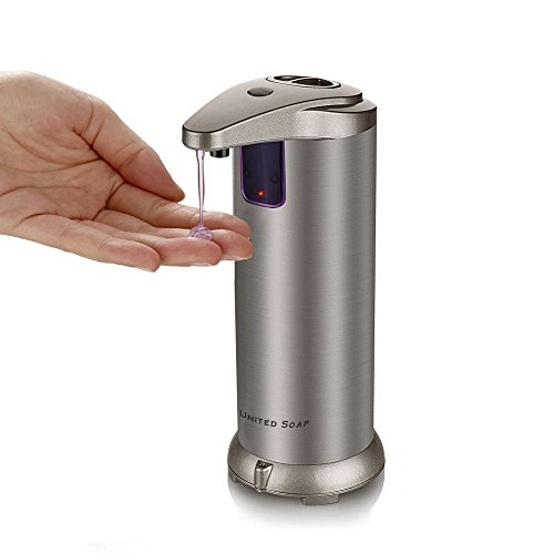 United Automatic Soap Dispenser, Premium Touchless Dispenser, Fingerprint Resistant Stainless Steel Autosoap Dispenser For Bathroom, Auto Hand Sanitizer - Dish Autosoap For Kitchen by United