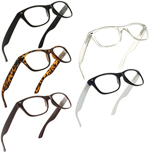 Reading Glasses 1.75 | 5 Pack Spring Hinge Trendy Readers for Men and Women [5 Pack, ()