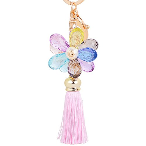 Pink Beaded Key Chain (Jiana 2016 Fashion New Glass Beaded Tassel Keychain Key Chain Clothing &Accessories Keyring,Pink)