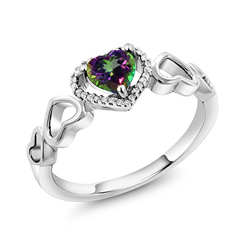 (Gem Stone King 10K White Gold 0.80 Ct Heart Shape Green Mystic Topaz with Diamond Accent Engagement Ring (Size)