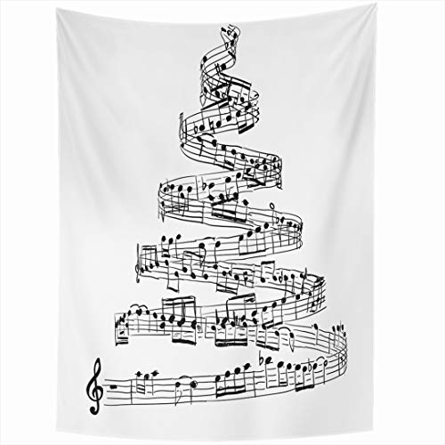 Score Song Christmas - Ahawoso Tapestry 60x90 Inch Shape Sheet Christmas Tree Music Notes Abstract Score Song Draw Xmas Sketch Design Handwritten Tapestries Wall Hanging Home Decor for Living Room Bedroom Dorm