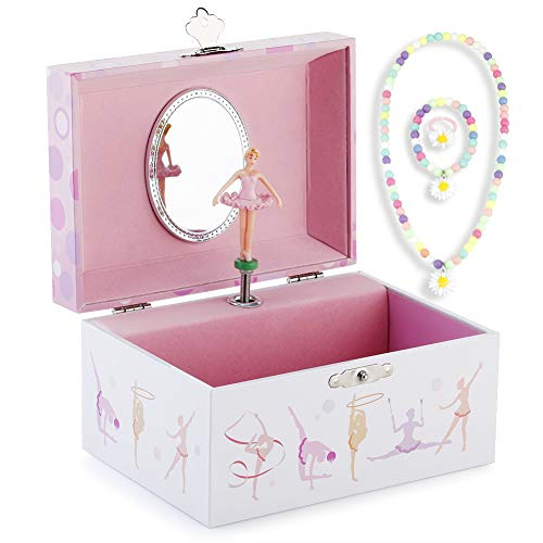 RR ROUND RICH DESIGN Kids Musical Jewelry Box for Girls and Jewelry Set with Lovely Gymnastics Girl Theme - Beautiful Dream Tune Pink (Jewelry Box Lenox Music)
