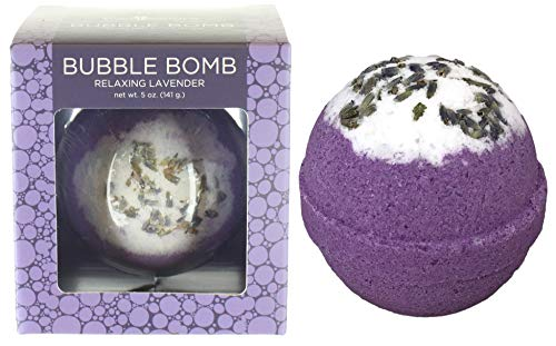 Relaxing Lavender BUBBLE Bath Bomb in Gift Box. USA Made Large Lush Spa Fizzy Handmade Gift Idea for Her, Wife, Girlfriend. Releases Purple Color, Scent and Bubbles in Bath. Essential Oil Moisturizing (Relaxing Bubble Bath)