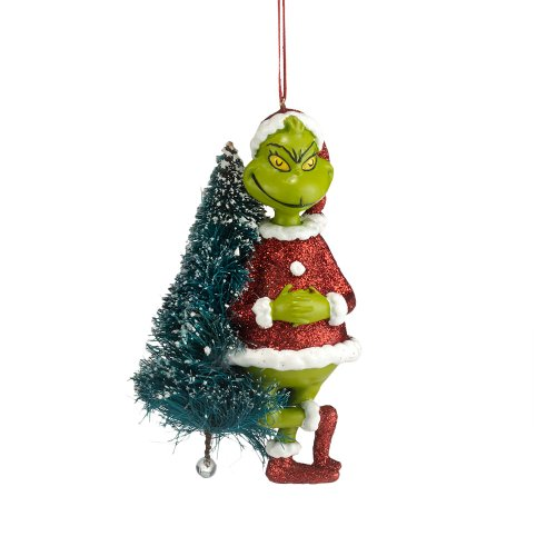 Department 56 Grinch with Sisal Tree Ornament, 4.25-Inch