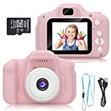 DDGG Kids Digital Camera for Girls Age 3-10,Toddler Cameras Child Camcorder Mini Cartoon Pink Rechargeable Camera Shockproof 8MP HD Children Video Record Camera (16GB Memory Card Included)
