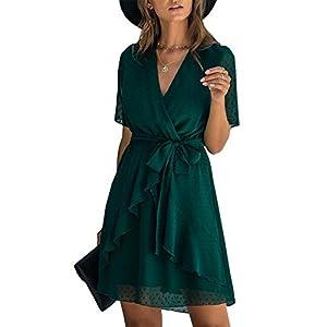 Best Epic Trends 417E%2B5XgxfL._SS300_ BTFBM Women Fashion Faux Wrap Swiss Dot V-Neck Short Sleeve High Waist A-Line Ruffle Hem Plain Belt Short Dress
