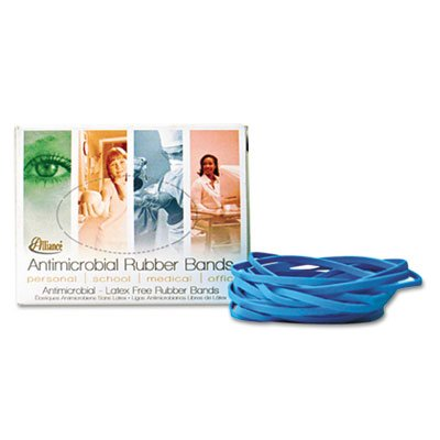Alliance Products - Alliance - Antimicrobial Cyan Blue Rubber Bands, Size 19, 3-1/2 x 1/16, 1/4lb Box - Sold As 1 Box - 100% latex-free bands contain no natural rubber proteins and have the added benefit of an antimicrobial agent, which inhibits the growt
