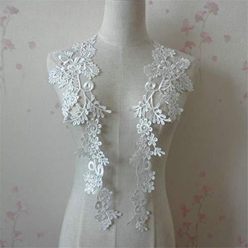 1 Pair Embroidery Applique Wedding Lace Floral Motif Sewing Trims Decoration (Ivory)