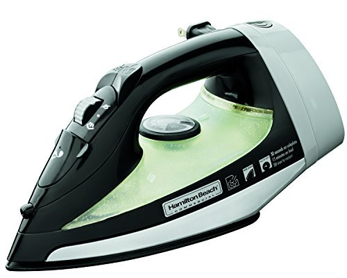 Hamilton Beach Commercial HIR300B Hospitality Iron with 3-Way Automatic Shutoff and Nonstick Soleplate, Black and White