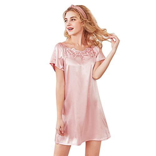 Newlyblouw Women's Sexy Satin Sleepshirt,Ladies Casual Lace Slim Short Sleeve Nightdress Fashion Print Sleepwear Mini Pajamas Pink