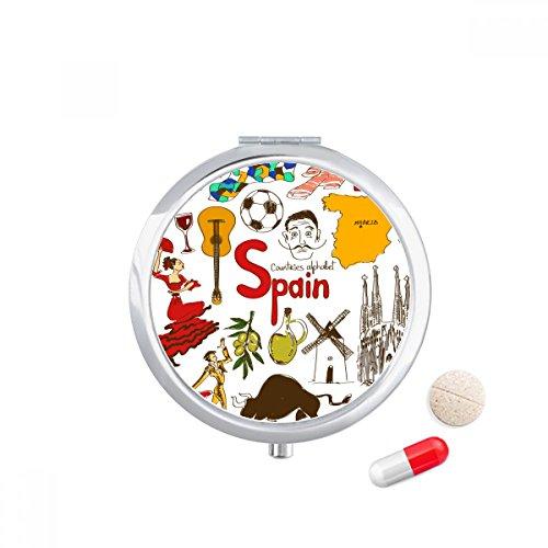 Spain Landscap Animals National Flag Travel Pocket Pill case Medicine Drug Storage Box Dispenser Mirror Gift by DIYthinker