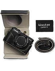 kinokoo Etui ze skóry PU do Canon PowerShot G7 X Mark II/G7X Mark III, torba ochronna Canon G7X III/G7X II obudowa na aparat (czarna)