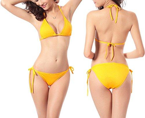 Shangrui Mujer Traje de Baño de la Serie Moda Color Sólido Vendaje Bikini(FZSW0050) Amarillo