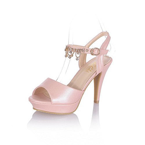 pa Open Toe Spikes Stilettos Buckle Solid Sandals, Pink, 37 ()