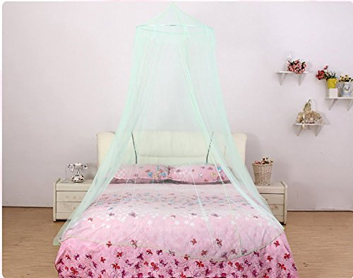 (Farlenoyar Round Hoop Bed Canopy Netting Mosquito Bedding Net Fit Crib, Twin, Full, Queen, King (Green))