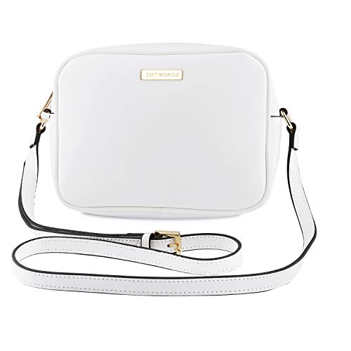 SEPT MIRACLE Lightweight Medium Women Crossbody Bag PU Leather Shoulder Bag Tote Bag Ladies Girls Purse (Pure White)