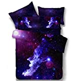 Nattey Star Galaxy Bedding Set Duvet Cover Set for Teen Kids Gift (Full, E)