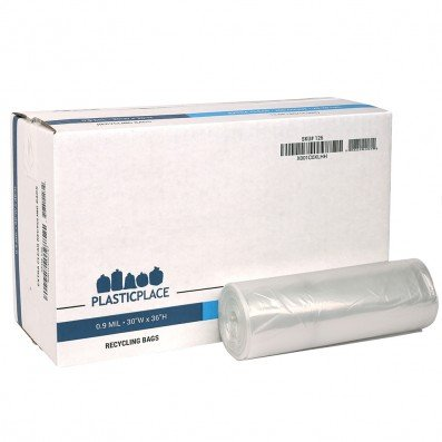 """Plasticplace 20-30 Gallon Extra Clear Recycling Bags 0.9 Mil, 30""""W x 36""""H, Clear, 200 / Case"""
