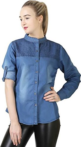 c37e33bc3 Women Girls denim Monk Shirt design on sholder  Amazon.in  Clothing ...