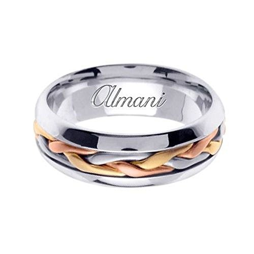 7mm 14k Tri Color Band - Almani 14k Gold 7mm Handmade Tri Color Wedding Ring 101 - Size 7.25