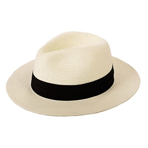 Panama Straw Hat,Womens Sun Hats Summer Wide Brim Floppy Fedora Beach Cap UPF50+(A01-Beige)