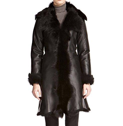 Longitud Invierno Shearling 100 Lujo Oveja Abrigo Rodilla De Piel La Mujeres wyq6x8CXpX