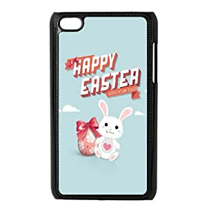 Happy Easter Egg and Bunny Illustration iPod Touch 4 Case Black Protect your phone BVS_821760