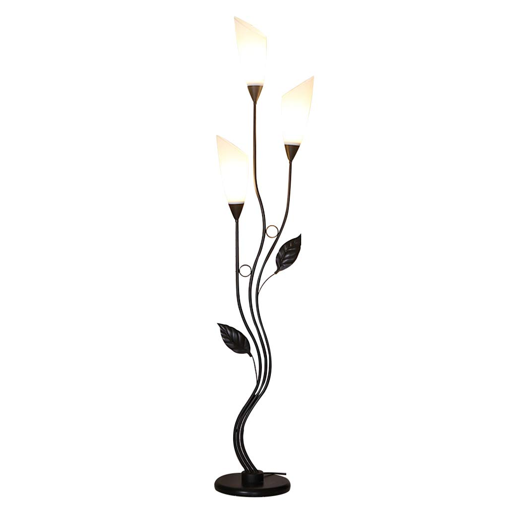 GJIF - Stehlampe Eisen Stehlampe Innenbeleuchtung Stehlampe Antik Geeignet für Wohnzimmer Schlafzimmer - Fußschalter (E27) (Farbe : SCHWARZ)