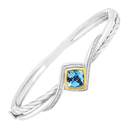 2 3/8 ct Natural Swiss Blue Topaz & 1/5 ct Diamond Bangle Bracelet in Sterling Silver & 14K Gold