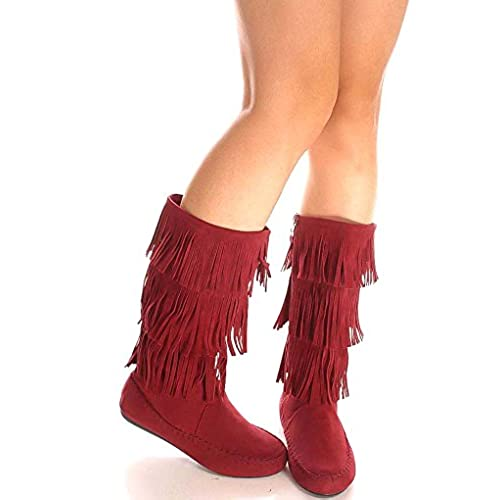 Young Aloud TOP FRINGE LOOK FRONT LACE DESIGN FAUX LEATHER MATERIAL KNEE HIGH BOOTS